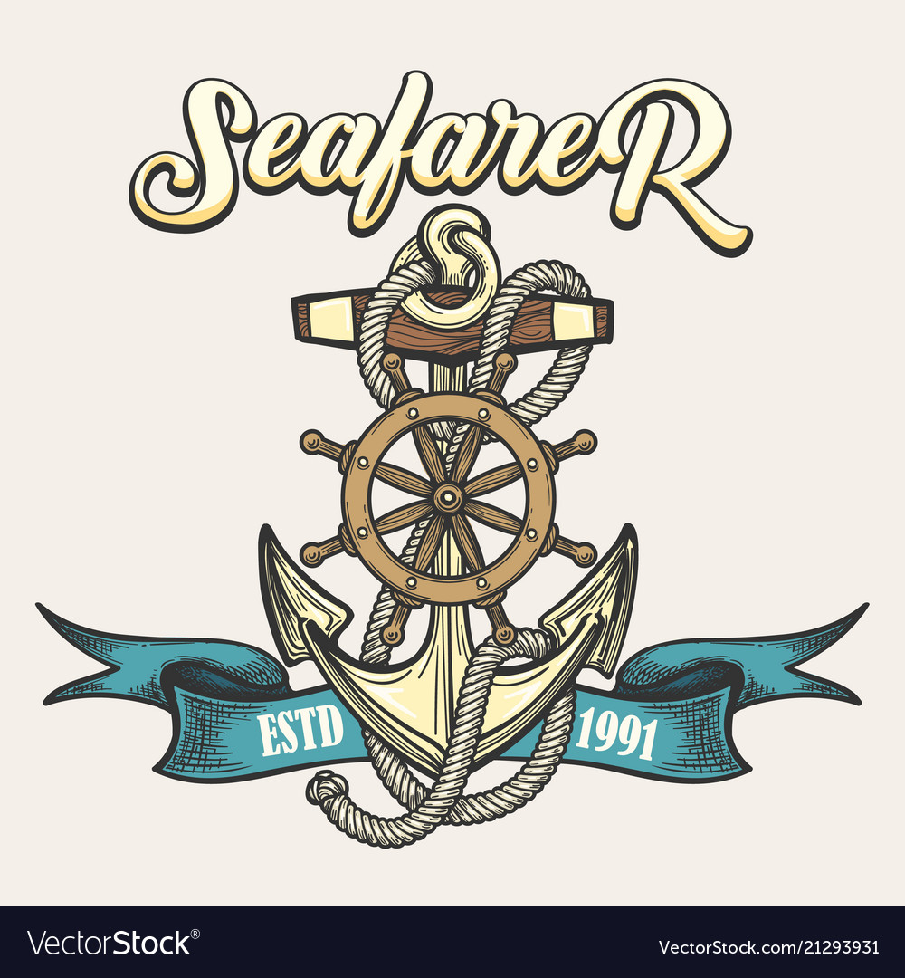Seafarer emblem in tattoo style vector