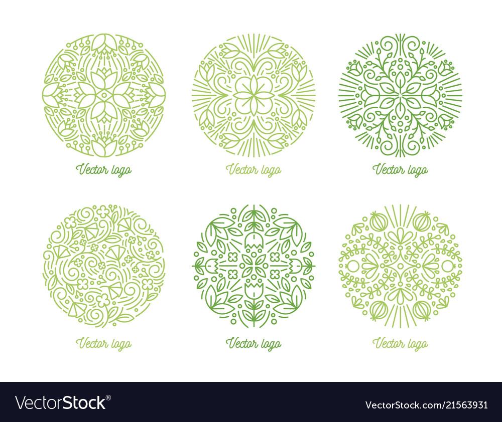 Set curved round oriental ornaments drawn