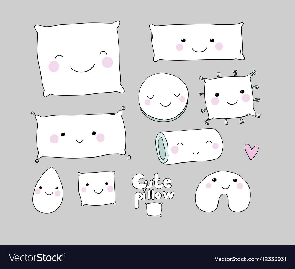 Set of cute cartoon pillows Interior decorations vector image