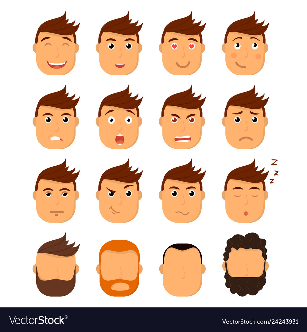 Set of male facial emotions emoji character with