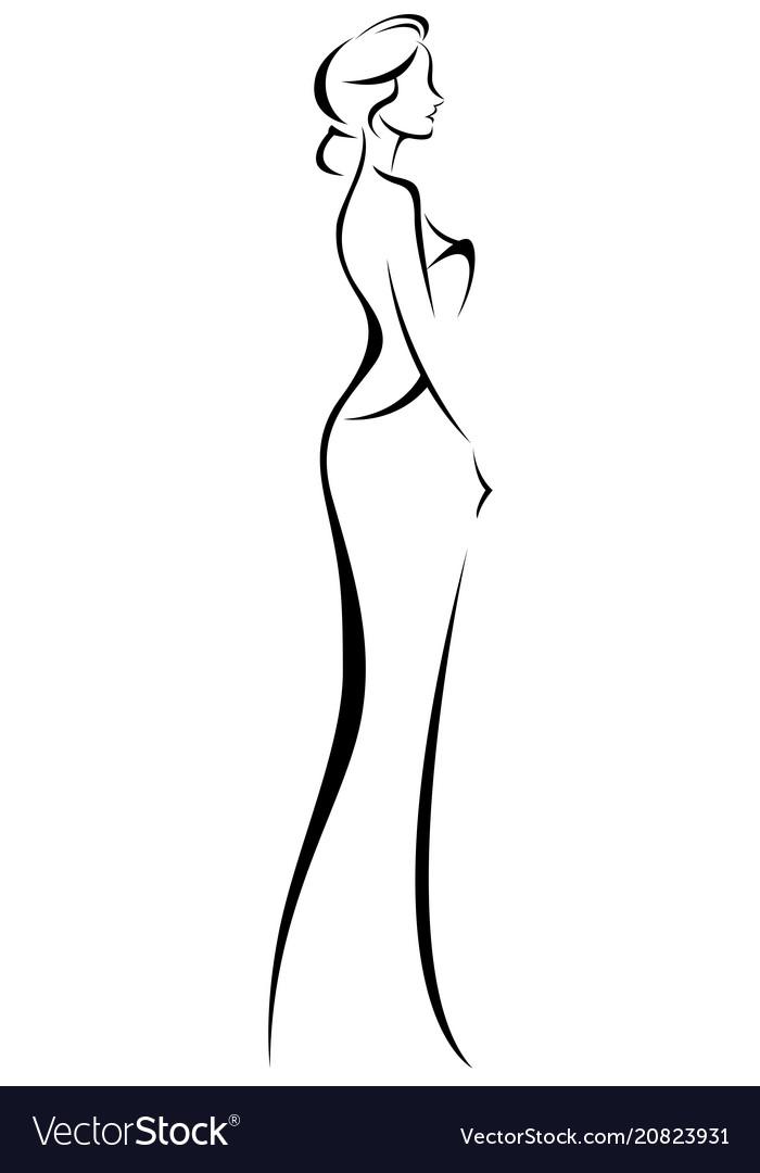 Silhouette of woman in elegant wedding dress