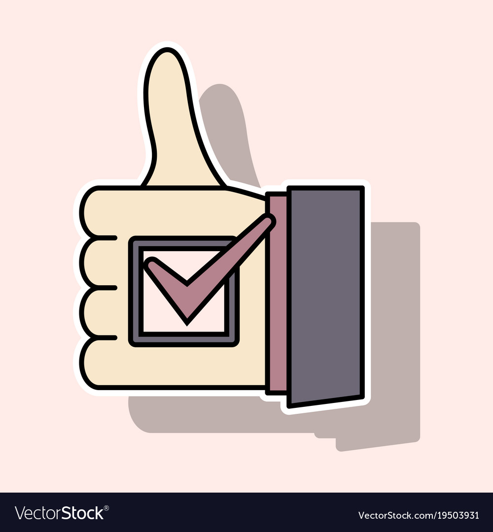 Sticker Thumbs Up Like Social Network Facebook Vector Image