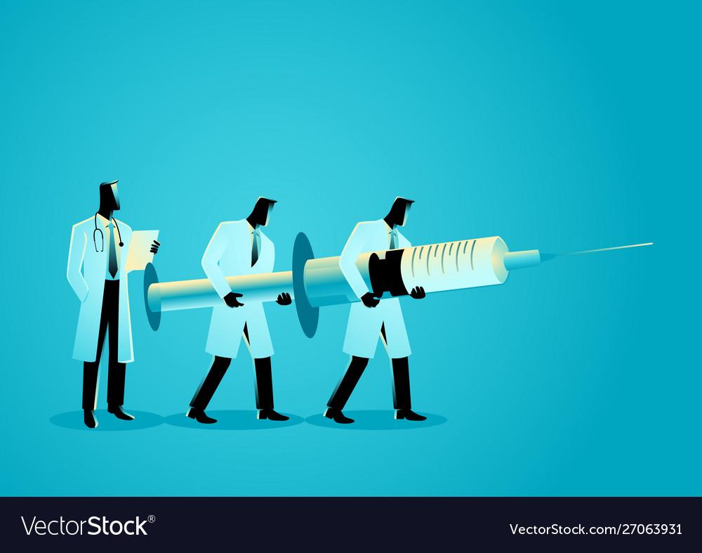 Team doctors carrying giant needle