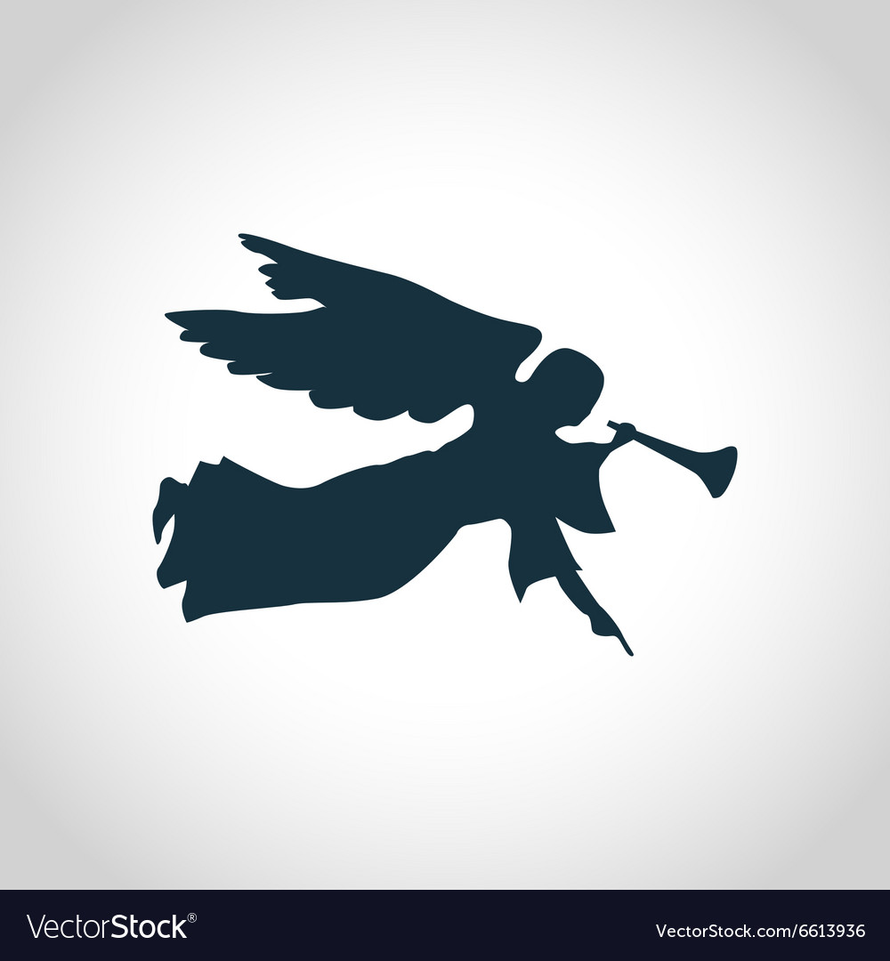 Angel with horn silhouette