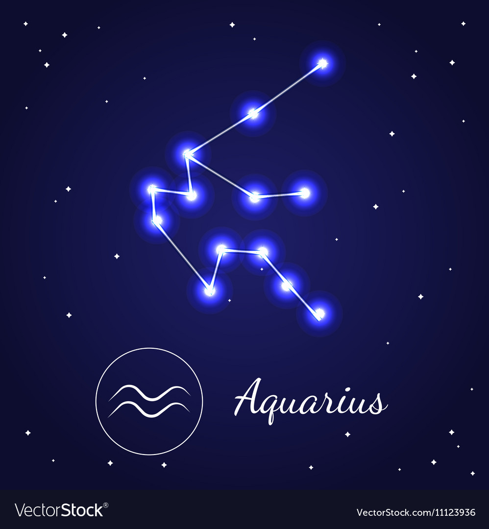 Aquarius Zodiac Sign Stars On The Cosmic Sky Vector Image
