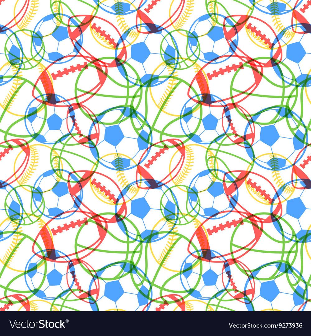 Bright colorful multiple sports balls icons