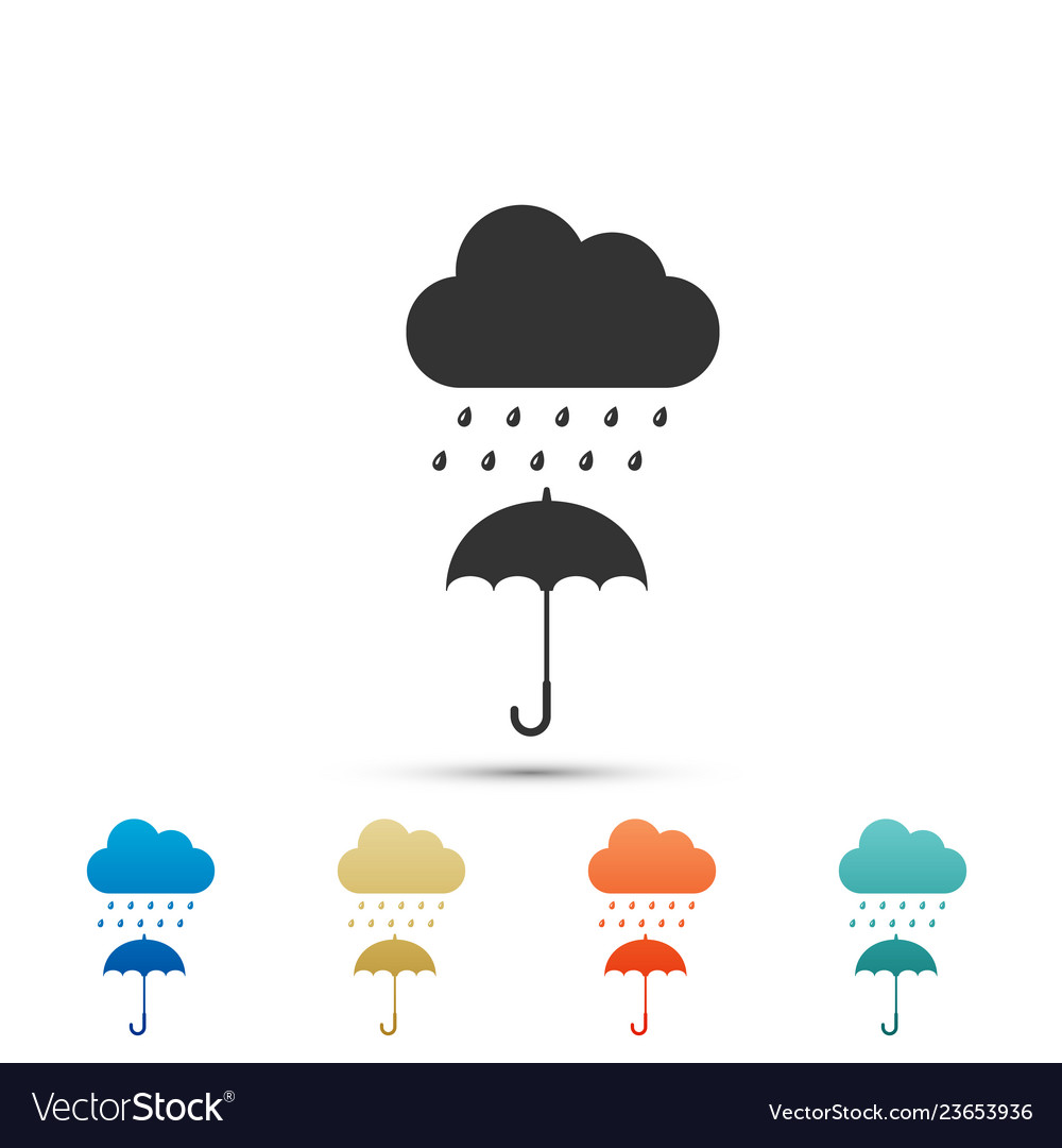 Cloud with rain drop on umbrella icon isolated