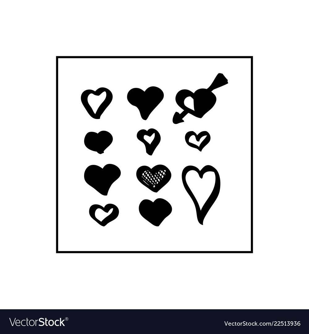 Collection of black hand drawn hearts