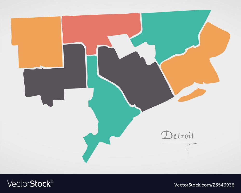 Detroit michigan map with neighborhoods and