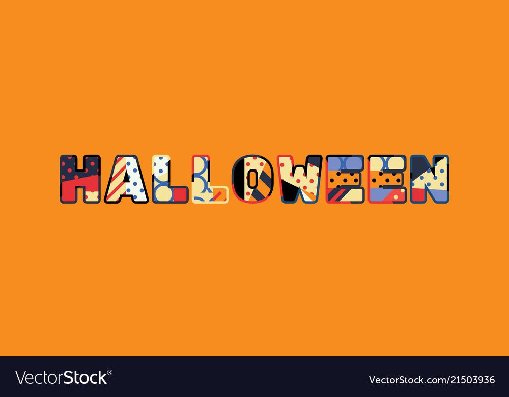 halloween concept word art vector image