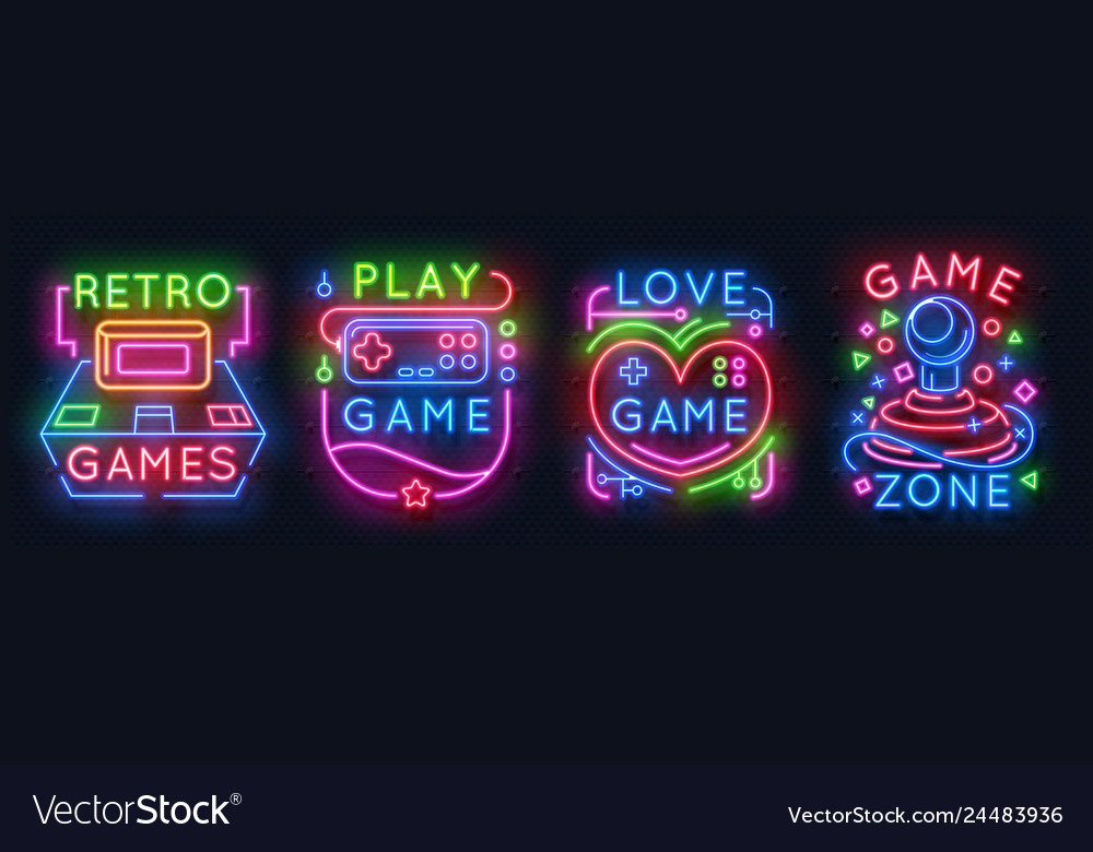 Neon game signs retro video games zone player