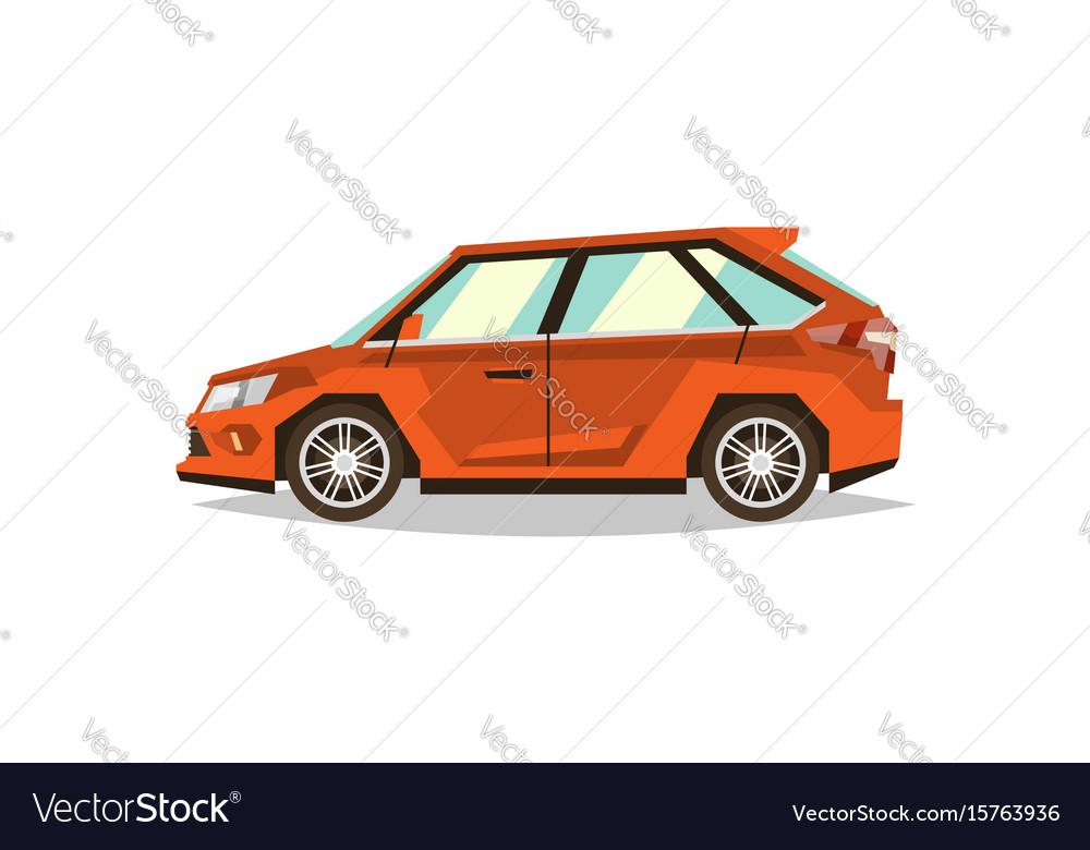 Orange car hatchback side view transport for vector image
