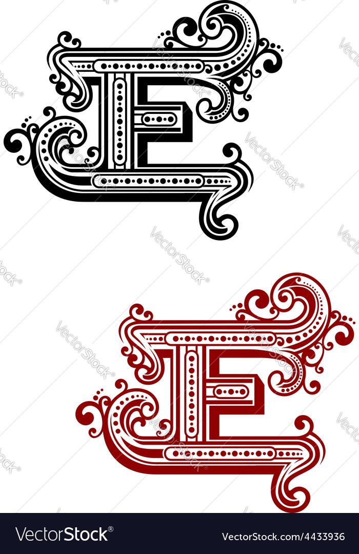 Retro capital alphabet letter E
