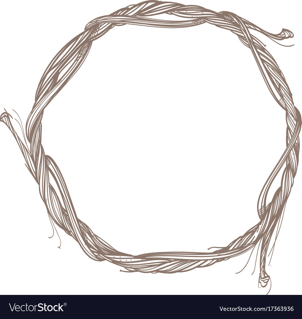 Round frame made of branches decorative outline Vector Image