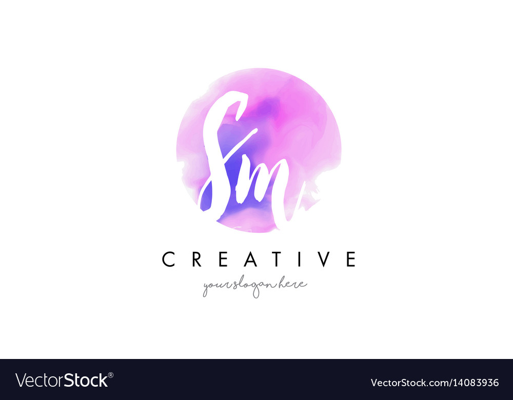 Sm watercolor letter logo design with purple