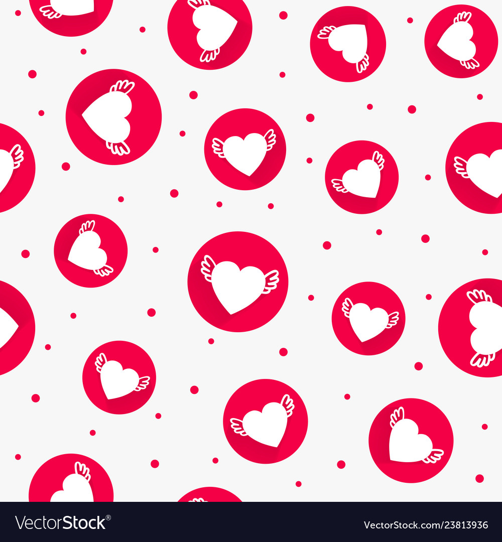 The red love seamless pattern with hearts