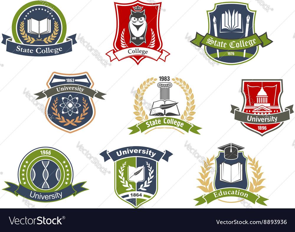 University and college school retro heraldic icons vector image