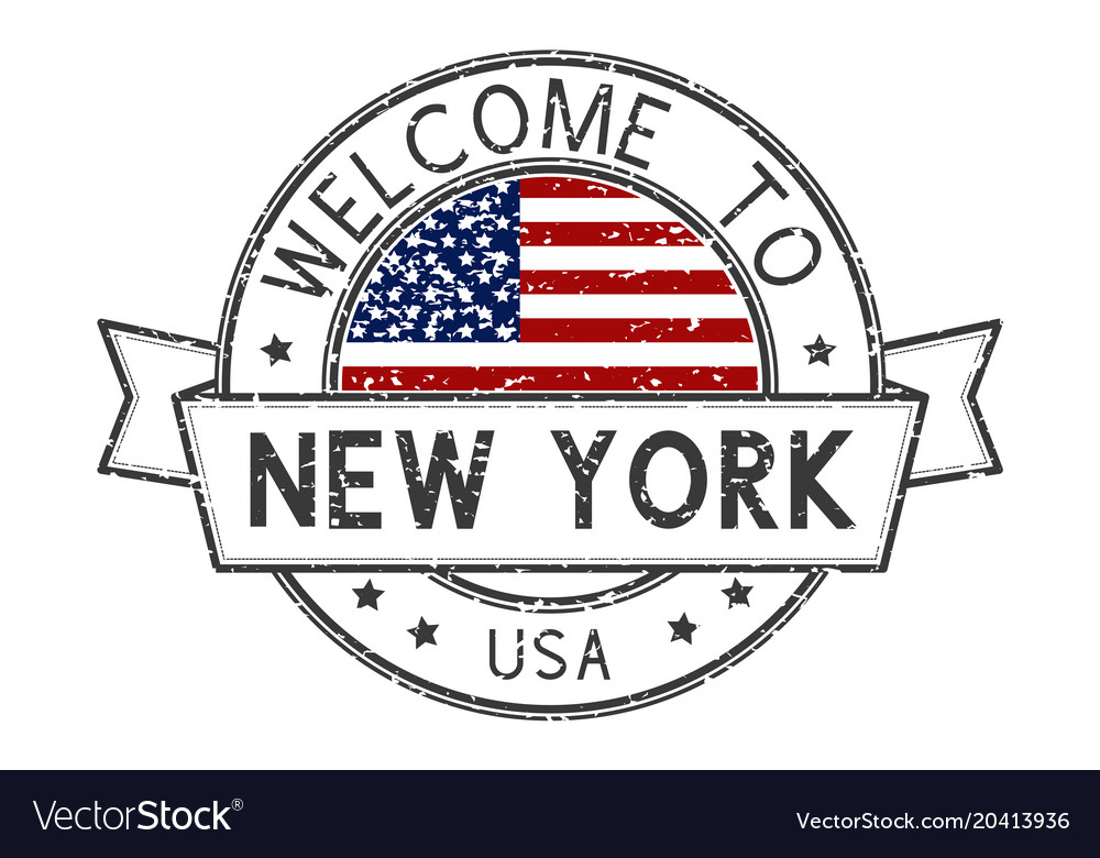 Welcome to new york usa stamp colored decorative
