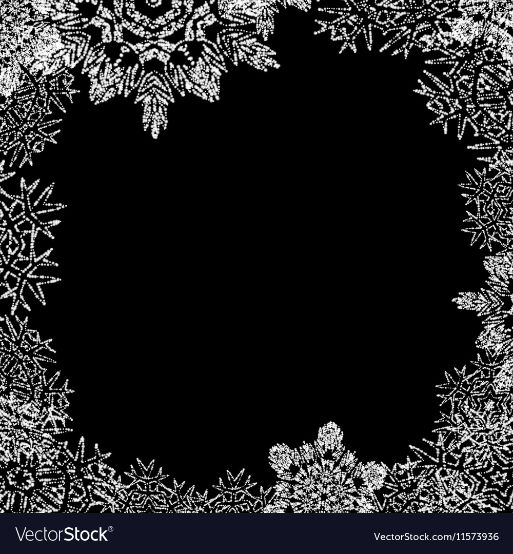 Winter frame with snowflakes on black background