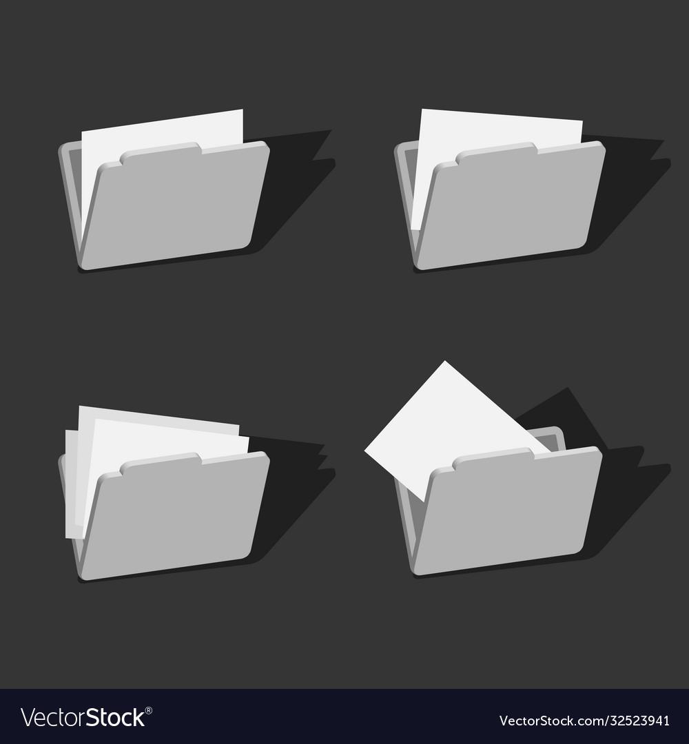 3d folder icons set design