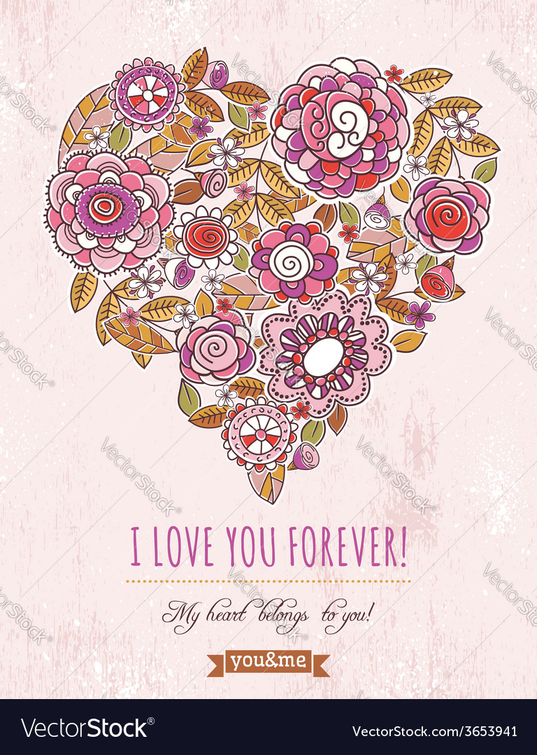 Background with valentine heart of spring flowers