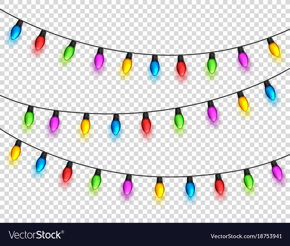 Christmas glowing lights on transparent background