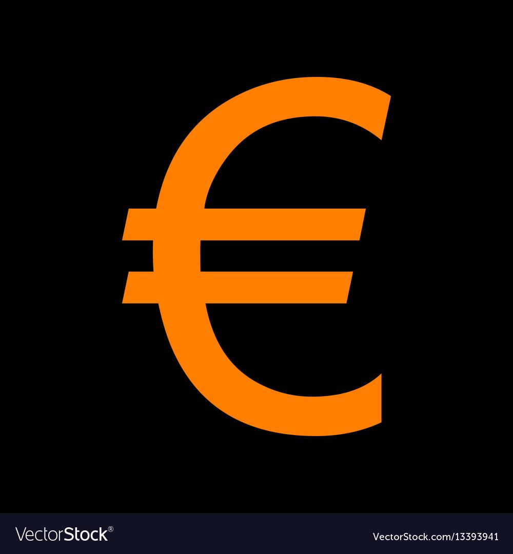 Euro sign orange icon on black background old