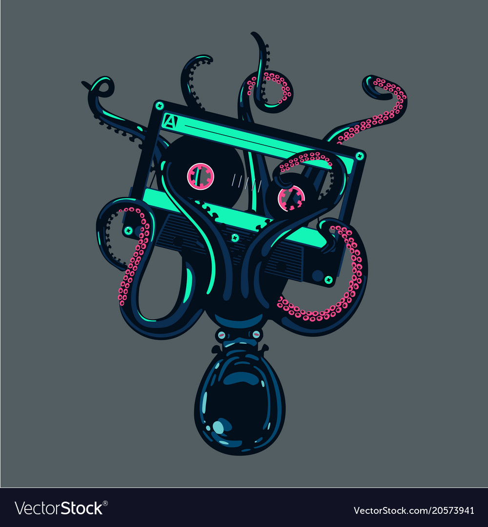 Octopus is holding a stereo cassette in tentacles
