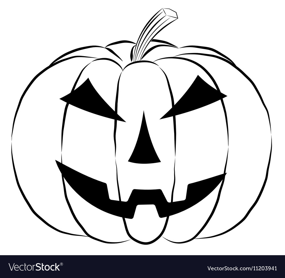 Pumpkin lantern icon in outline style isolated on