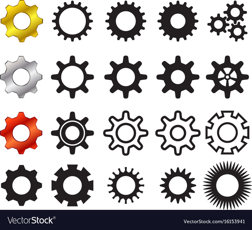 Set of cog icons in many style