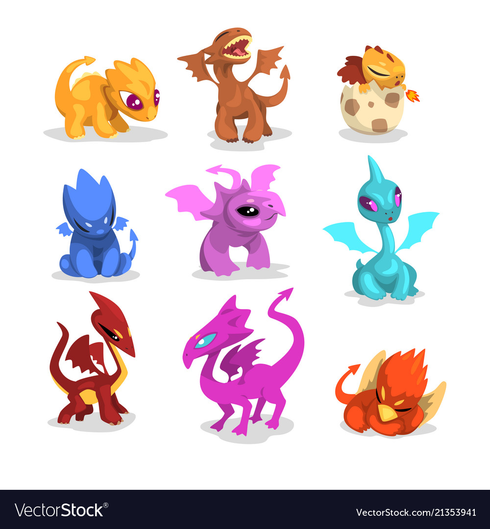 Set of colorful dragons in flat style cartoon