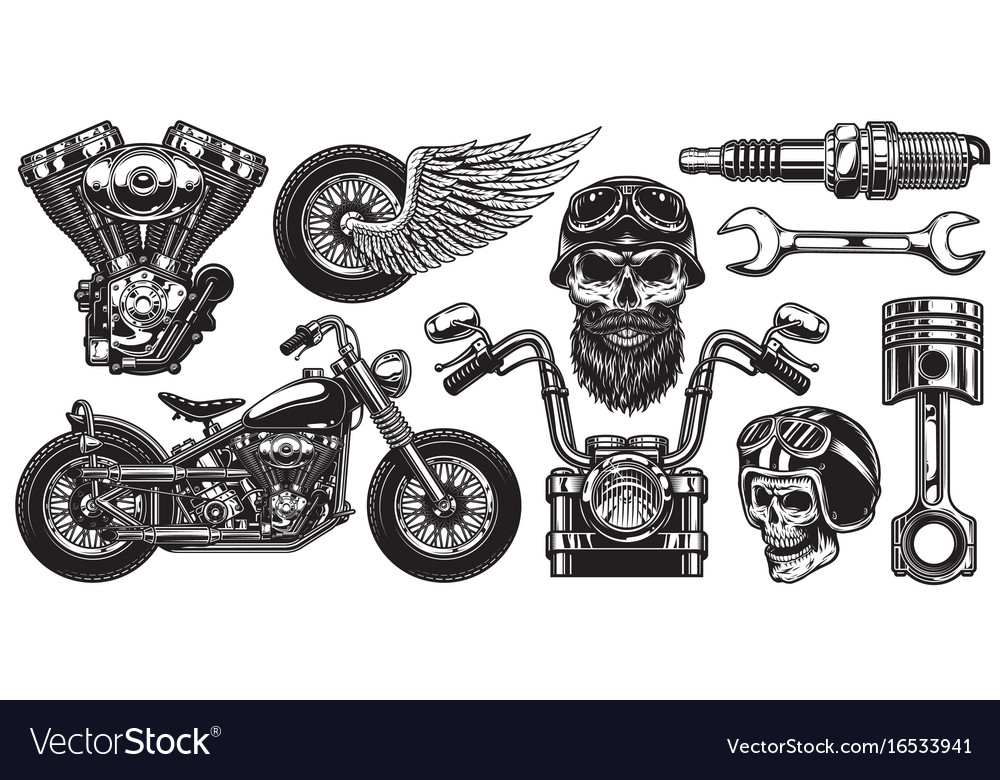 Set of monochrome motorcycle elements
