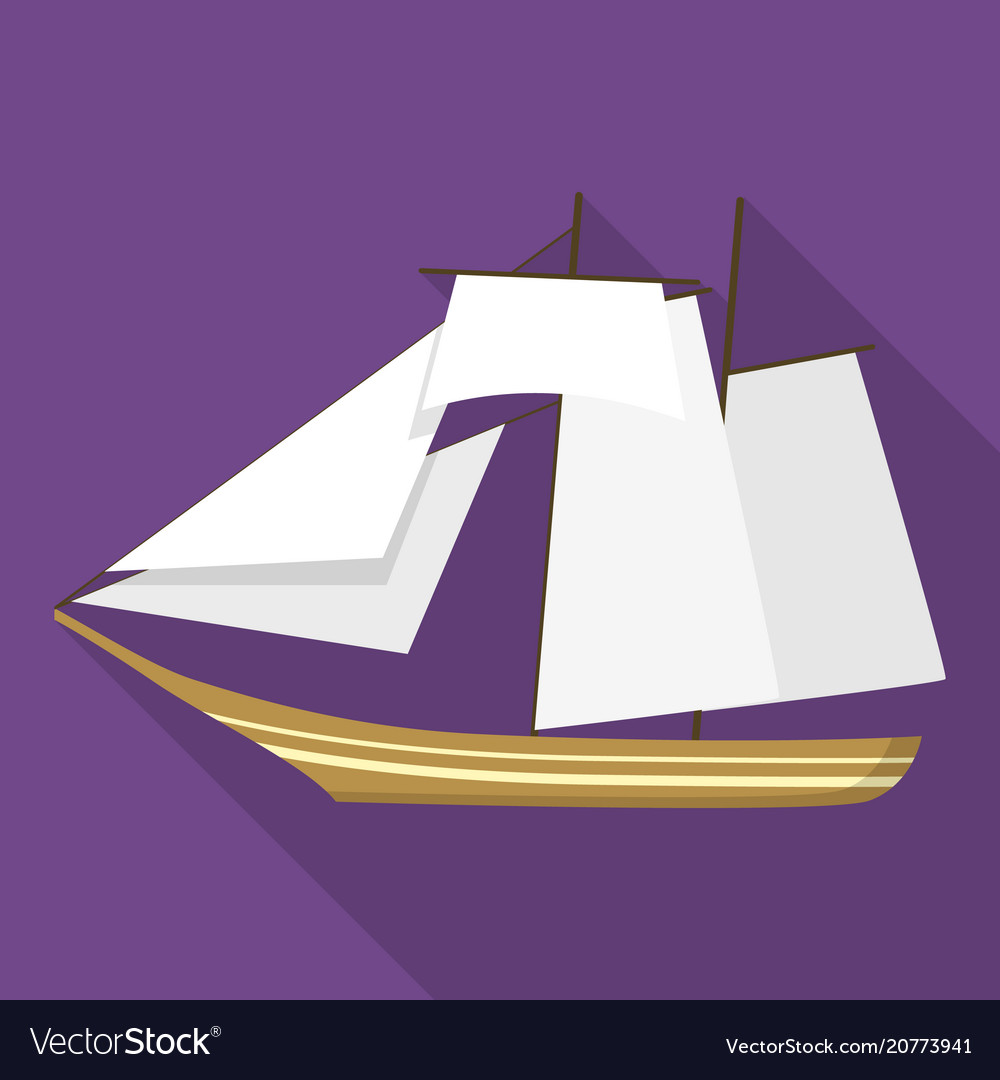 Topsail schooner ship icon flat style