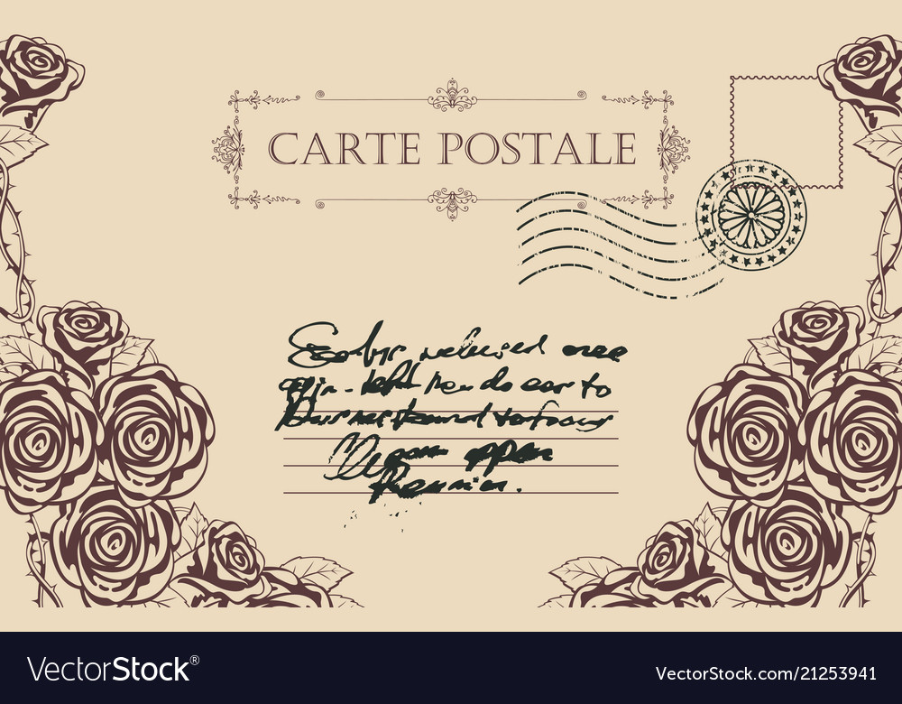 Vintage postcard with roses