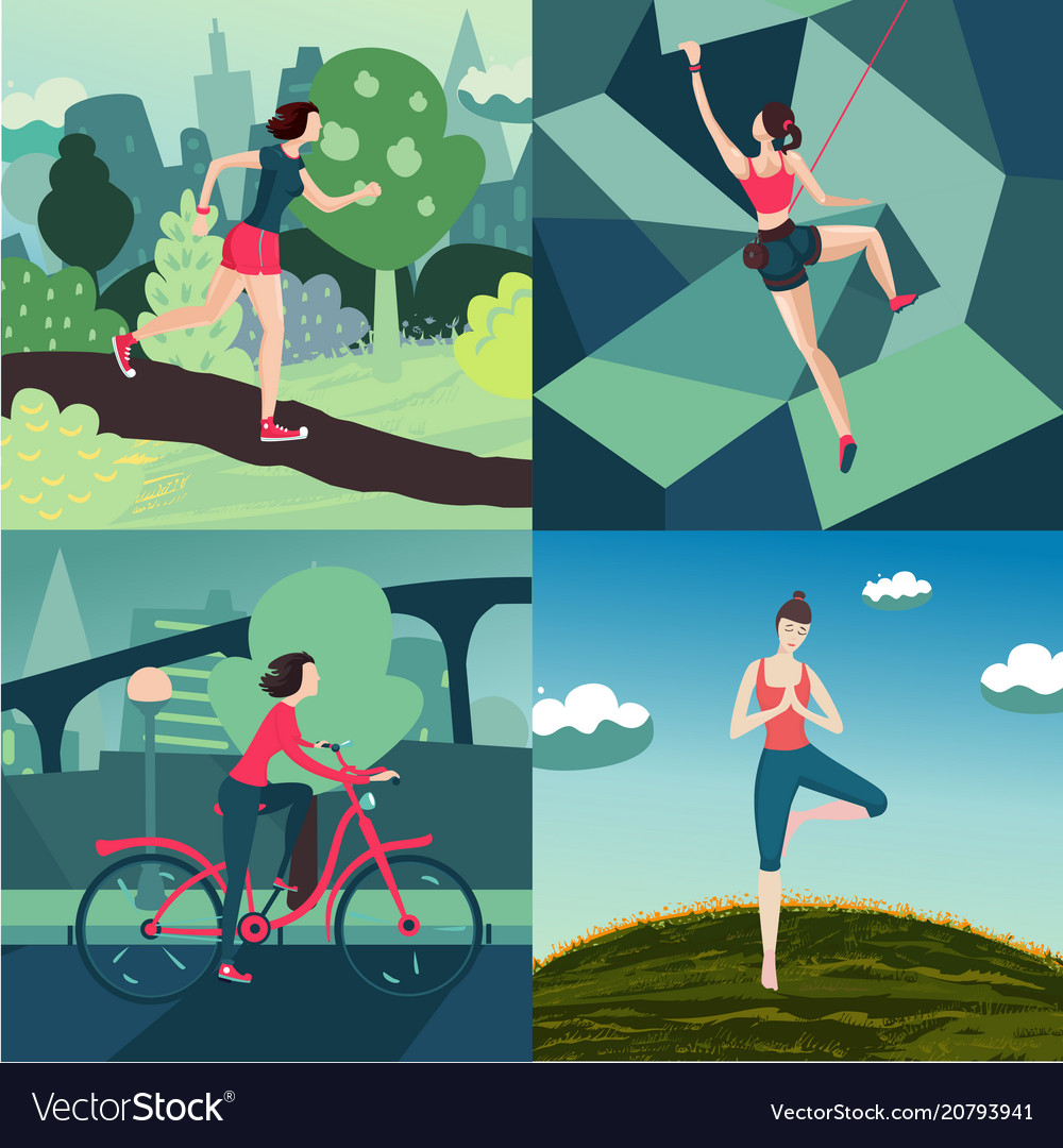 Woman outdoor sport activity workout on nature