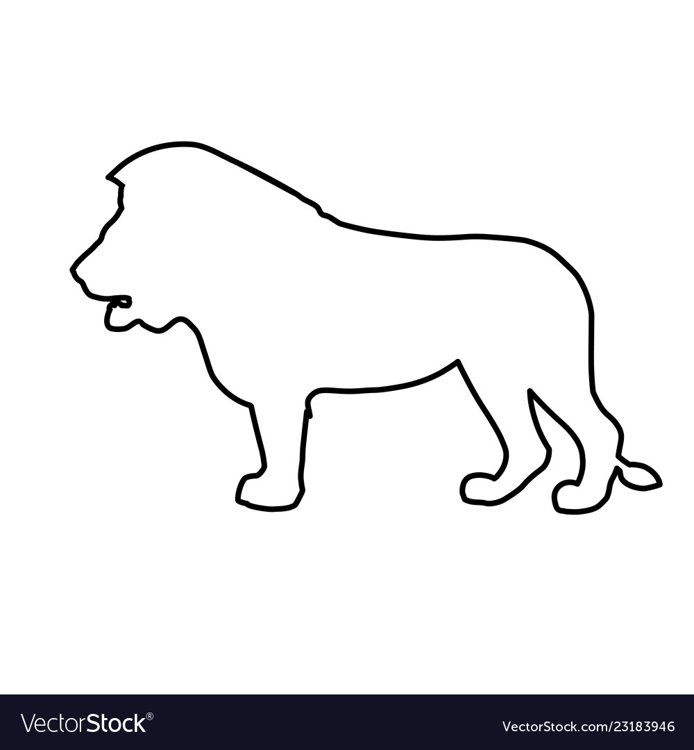 African lion in line style