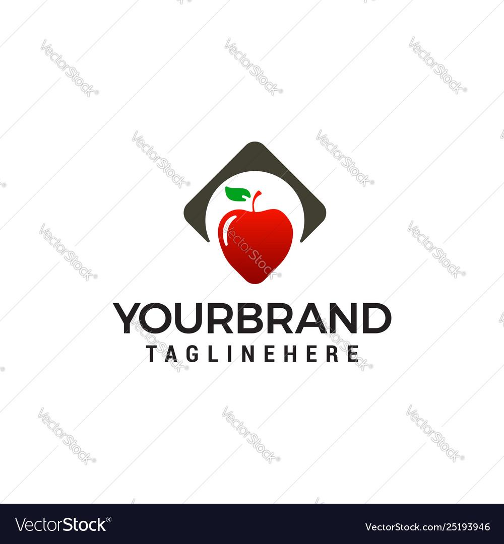 Apple heart logo design concept template