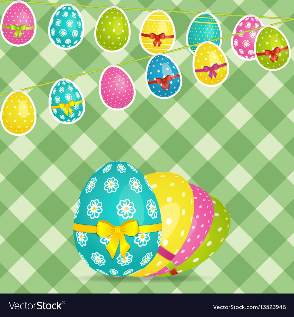 Easter egg bunting over crossed stripes background
