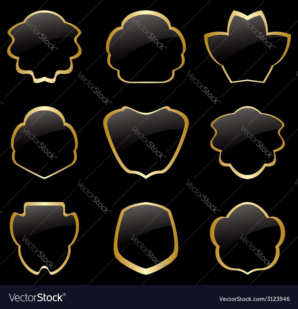 db4a01de53b Gold and black vintage frames - set Royalty Free Vector