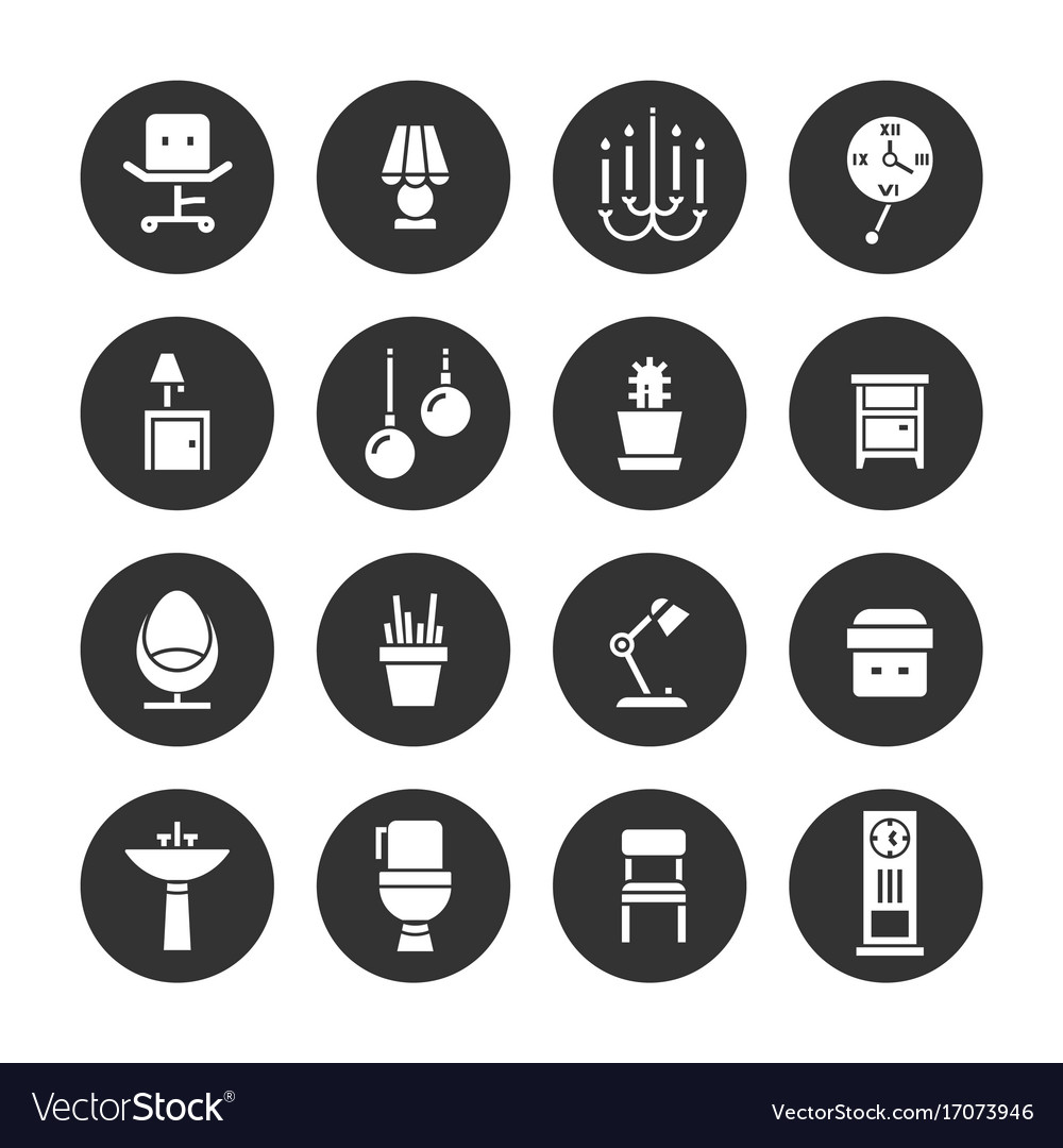 Interior Design White Icons Collection Royalty Free Vector