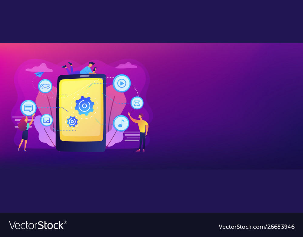 Mobile content concept banner header