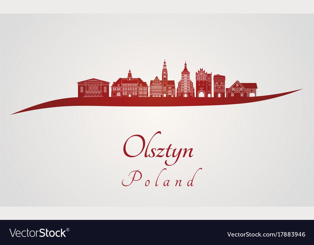 Olsztyn skyline in red