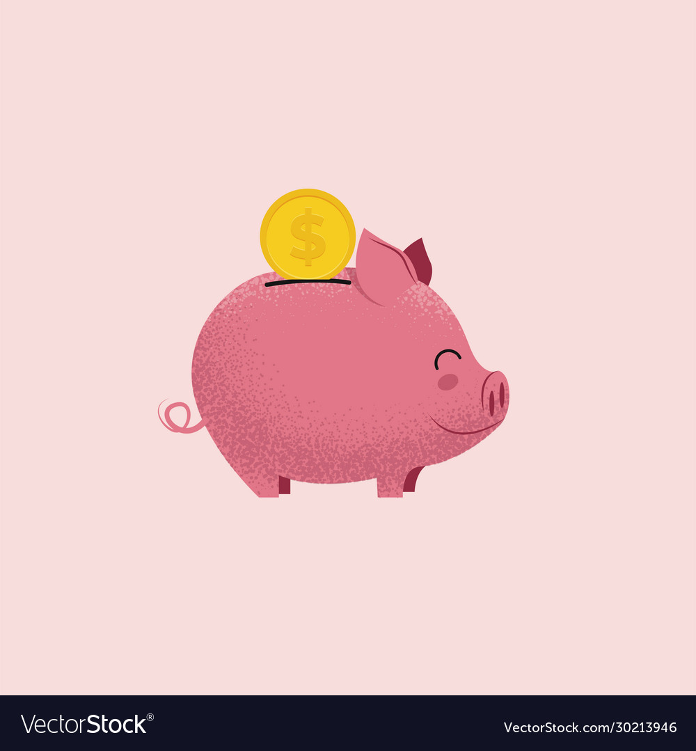 Piggy bank pig money box with coin isolated on