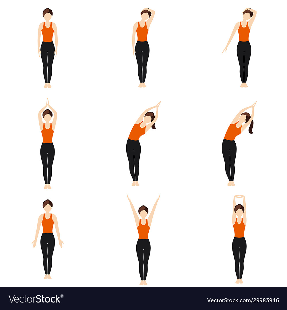 Simple standing warm-up yoga asanas set for