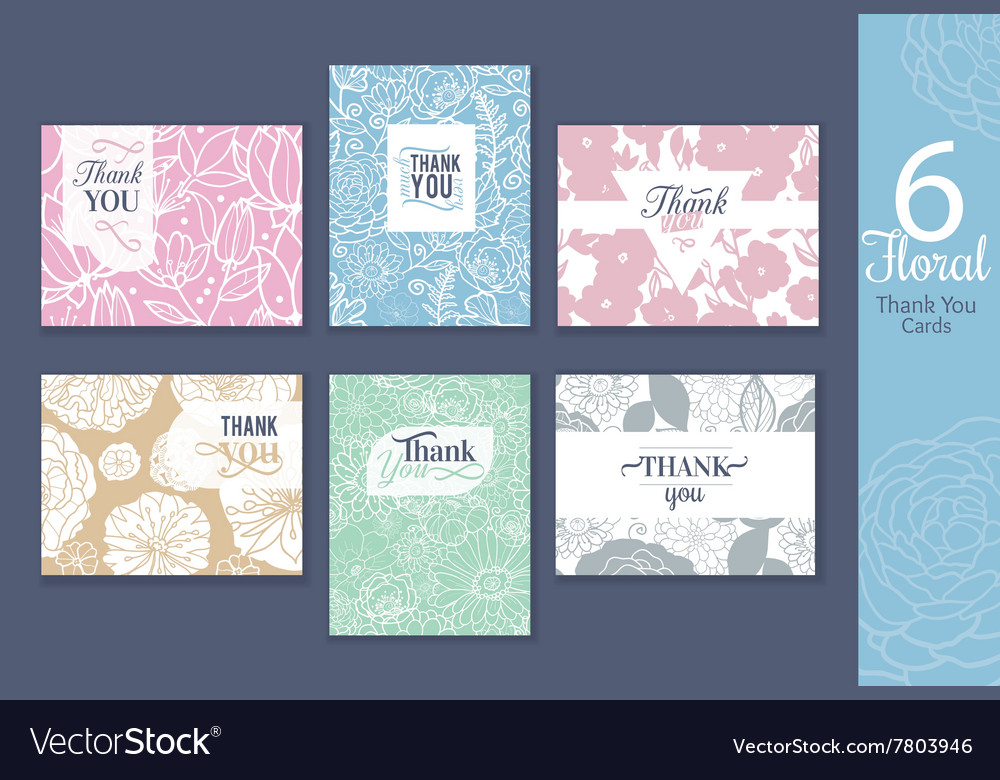 Six floral wedding thank you cards set with vector image