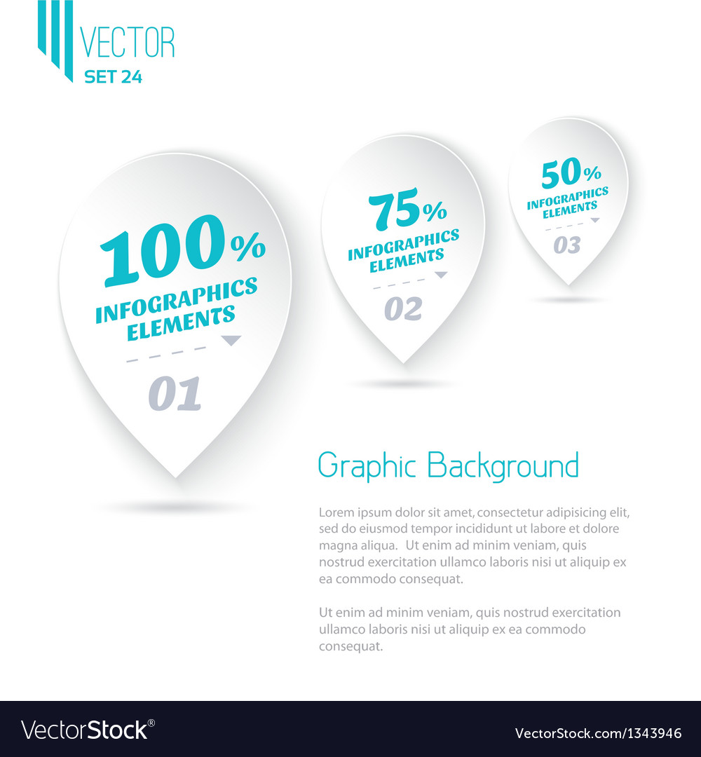 Three icons with text for infographic white