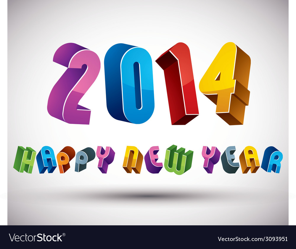 2014 Happy New Year card with phrase made with 3d Vector Image