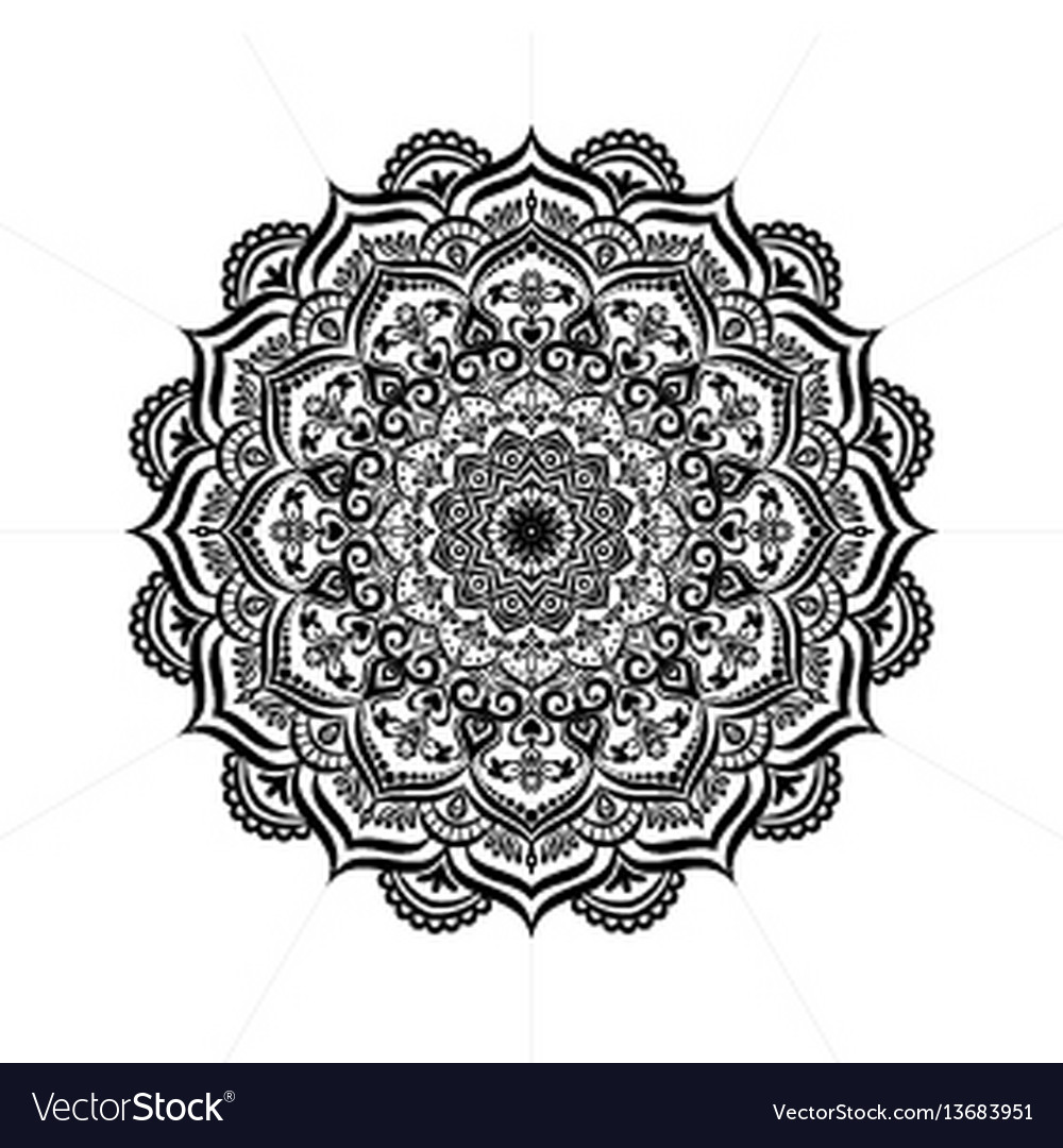 Beautiful deco monochrome contour mandala