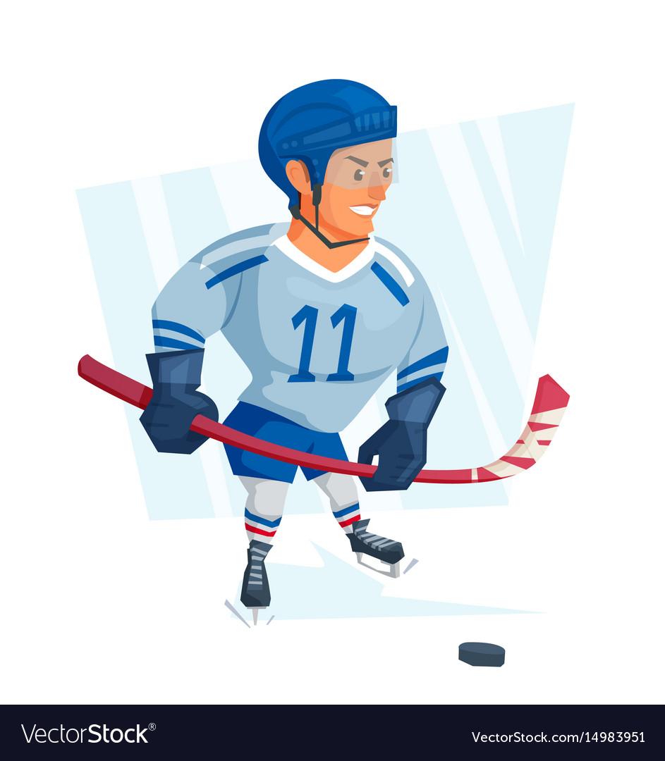 Cartoon ice hockey player in blue uniform
