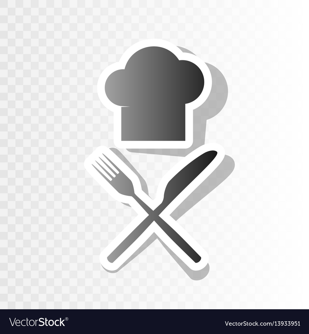 Chef with knife and fork sign new year